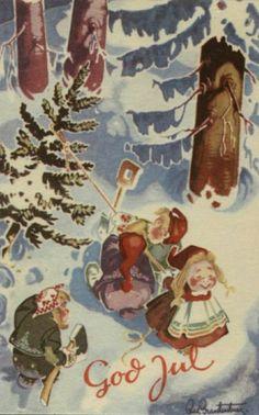 Julekort Sign. Brantenberg. Juletrehugst. Utg Oppi. Stemplet 1955