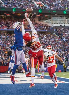 Kansas City Chiefs strong safety Ron Parker (38) deflected a pass intended for Buffalo Bills wide receiver Chris Hogan (15) on a four-down stop by the Chiefs late in the fourth quarter during NFL action on November 9, 2014 at Ralph Wilson Stadium in Orchard Park, NY. The Chiefs won 17-13.