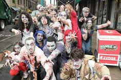 A group of Zombies take to the streets in New York City for a 'zombie blood drive' in celebration of the global launch of Zynga's latest mobile game 'Zombie Swipeout' for the iPhone and iPod touch.