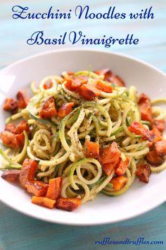 Zucchini Noodles with Basil Vinaigrette for #SundaySupper