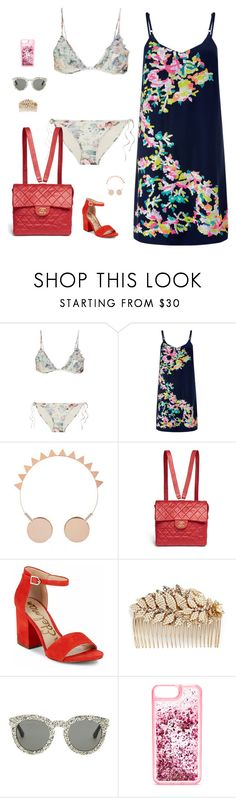 """""""summer"""" by candynena228 ❤ liked on Polyvore featuring Zimmermann, Monsoon, Topshop, Chanel, Sam Edelman, Miriam Haskell, Yves Saint Laurent and ban.do"""