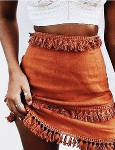 crop top + orange layered fringe skirt | vacation outfit ideas | #outfits