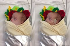 This is a digital enhancement of a photo of a NICU baby wearing a burrito costume for halloween