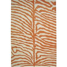 Handmade orange zebra striped rug spreads over a cream fiber base for a wild safari feel.