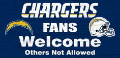 "San Diego Chargers Wood Sign - Fans Welcome 12""x6"""