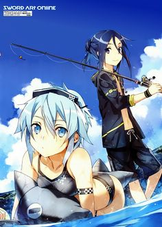 Sword Art Online - Gun Gale Online Kirito & Asuna. This is the only picture I've seen of GGO where Kirito actually resembles a man