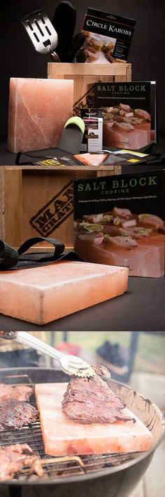Grilling steak on a salt block from the Himalayas? This sounds awesome! Best way to grill, infused flavors, read up on salt block cooking, cooking techniques, food, gift ideas, #mancrates