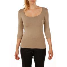 T-shirt femme col carré et manches trois quart en viscose stretch BRUCE FIELD