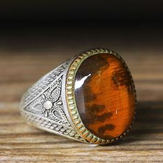 925 K Sterling Silver Man Ring Orange Amber 9,5 US Size $33.98