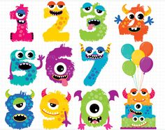 Alpha Monster Numbers 1 / Monster Clipart by MyClipArtStore Monster Party, Monster Birthday Parties, Cute Monsters, Monsters Inc, Imprimibles Halloween, Monster Clipart, Halloween Prints, Halloween Stuff, Halloween Halloween