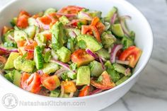 Ingredients for Tomato Avocado Salad:  1 lb Roma tomatoes 1 English cucumber 1/2 medium red onion, sliced 2avocados, diced Juice of 1 medium lemon (about 2 Tbsp) 1/4 cup (1/2 bunch) cilantro, chopped* or dill 1/8 tsp black pepper