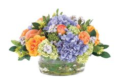 Natural Decorations, Inc. - Rose Hydrangea Orange Blue | Glass Low Bowl