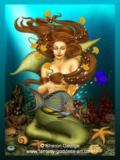 Mermaid Art Painting | The Mermaid - Fantasy and Goddess Art - Art Print Available