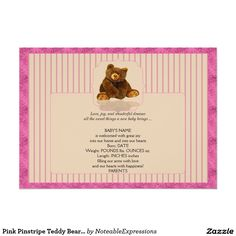 Shop Blue Pinstripe Teddy Bear Baby Announcement created by NoteableExpressions. Baby Girl Birth Announcement, Baby Announcements, Create Your Own Invitations, Zazzle Invitations, Smudging, Paper Texture, Teddy Bear, Prints, Cards