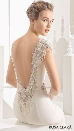rosa clara 2017 bridal embroidered cap sleeves bateau neckline simple clean elegant sheath wedding dress open low back chapel train (naipe) zbv mv