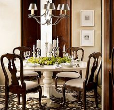 Dining room- white table combined with dark wood chairs