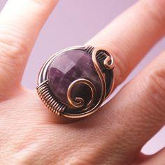 Amethyst Ring Amethyst Jewelry Copper Adjustable Ring