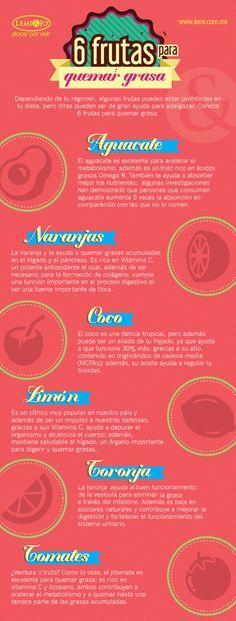 Infografía: 6 #frutas para quemar #grasa. Visita http://lemi.com.mx #bienestar y #belleza