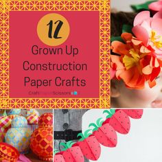 """12 Grown Up Construction Paper Crafts - Craft Paper Scissors - - You're never too old to craft! Take a look at these """"grown up"""" paper crafts for you to take on during a rainy day! Paper Flowers Roses, Paper Flower Wreaths, Paper Sunflowers, Tissue Paper Flowers, Flower Crafts, Construction Paper Flowers, Construction Paper Crafts, Rainbow Paper, Paper Flower Tutorial"""