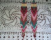 hand beaded fringe earrings feather native american style purple black galaxy space. $45.00, via Etsy.