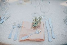 Rustic Table Setting with Peach Napkin, Hammered Silverware, and Lace Linens // LVL Weddings & Events // Photography: Tyler Branch Photo // Videography: EK Media Productions // Catering: Above it All Catering // Venue: Private Estate, Rancho Palos Verdes // Rentals: Signature Party Rentals // Floral Design: Green Leaf Designs // Beauty: Design Visage // DJ: Steve Burdick Events // Transportation & Valet: VIP Limousines & Coaches