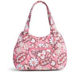 Vera Bradley Emily Satchel in Blush Pink ($88) ❤ liked on Polyvore featuring bags, handbags, blush pink, pink purse, vera bradley purses, multi pocket purse, vera bradley en structured handbag