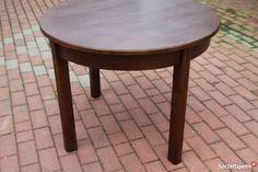 Stary okrągły rozkładany stolik,ława ART-DECO dębowy antyk .