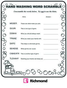 #Activities - Hand washing word scramble!