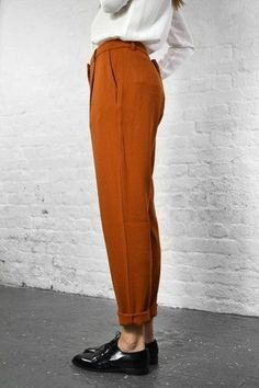 cuffed statement pant + loafer.