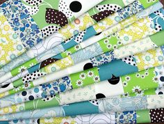 Beautiful collection of fabrics for a quilt.