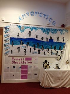 Antarctica display idea. .Love this! But the kids would mess with that table in the hallway.