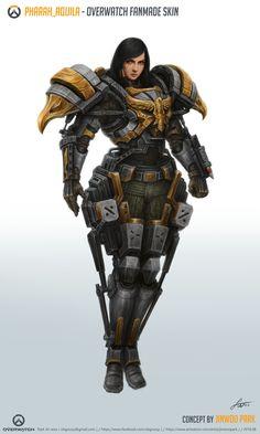 Pharah_Aquila [Overwatch Fan-made Skin], 진우 박 Female Character Concept, Character Art, Character Design, Overwatch Skin Concepts, Overwatch Pharah, Medieval, Cyberpunk Character, Superhero Design, Video Game Art