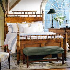 """Many faux bamboo beds were made throughout Europe in the late 19th century,  usually in smaller sizes. We found a bed in England and did a bit of  re-proportioning to suit today's bedding. Crafted in Spanish Cedar, our  """"bamboo"""" surrounds handsome Tiger Maple panels and forms the sturdy ..."""