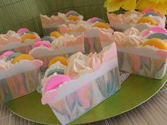 Rainbow Sherbert soap cake sliced!
