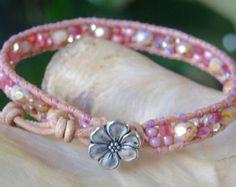 WOODLAND Gemstone 4 Wrap Leather Bracelet by BraceletsofBlueRidge