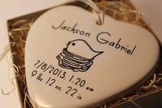 CUSTOM  Birth Date Porcelain Heart Ornaments  by aphroditescanvas, $28.00