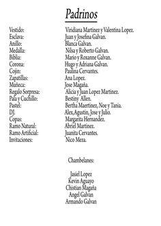 Ejemplo de formato de lista de padrinos de 15