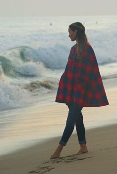 Vintage 1950's Red and Blue Plaid Wool Cape by OliveSheaVintage