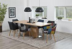 Scaun tapitat Nora Multicolour/Oak pentru living #homedecor #livingroom #interiordesign #inspiration #colors #decoration #livingroomdecor Table Extensible, Office Desk, Conference Room, Dining Table, Design, Furniture, Retro, Home Decor, Products