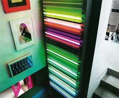 Crazy cool neon lights for art in a staircase! #interior
