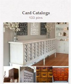 """Card Catalogs: Dealing mostly with card catalogs repurposed for the home, but some classic library photos have slipped in, as have some """"card-catalog-like"""" storage cabinets. For more about libraries, librarianship, reading, books, or bookshelves, there are separate boards. See """"CATEGORY 2: Book & Library Related Boards"""" [http://pinterest.com/suziholler/category-2-book-library-related-boards/]."""