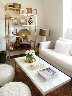 Just how glam is this living-room! Love the deluxe footrests and also gold accents.
