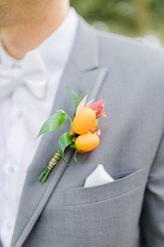 Citrus boutonniere on gray jacket Orange Blossom Bride | Central Florida Wedding Blog #weddinginspiration #weddinginspo #weddingideas #floridawedding #boutonniere Wedding Groom, Wedding Show, Summer Wedding, Wedding Attire, Dream Wedding, Old Florida, Central Florida, Groom Boutonniere, Boutonnieres