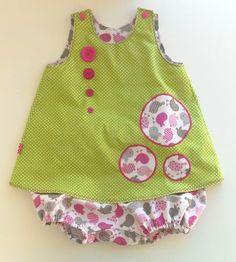 (Anaïs) robe trapèze et bloomer 6 mois