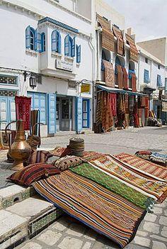 mercado de alfombras, Kairouan, Túnez, África del Norte, África
