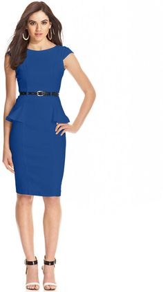 XOXO Juniors' Cap-Sleeve Fitted Peplum Sheath Dress on shopstyle.com