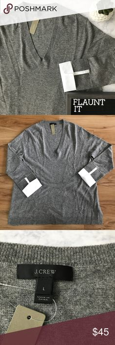 JCrew Grey Sweater with cuffs Size Large, grey v neck sweater with white cuffs attached at sleeves. Chest 22in, length 29in, new with tags, never worn J. Crew Sweaters V-Necks