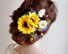 Sunflower wedding hair clip Sunflower hair by HollyHoopsArt