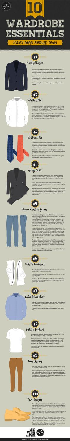 Fashion infographic & data visualisation Fashion infographic : 10 Wardrobe Essentials Every Man Should Own. Sometimes, dressing better is simpler than you Mens Wardrobe Essentials, Men's Wardrobe, Der Gentleman, Gentleman Style, Gentleman Rules, Fashion Infographic, Style Masculin, La Mode Masculine, Mens Fashion
