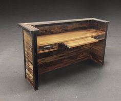 Reclaimed wood desk from fallen reclaimed wood live edge